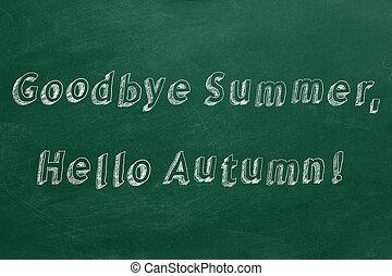 autunno, !, arrivederci, estate, ciao
