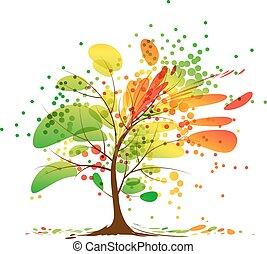 autunno, arte, albero