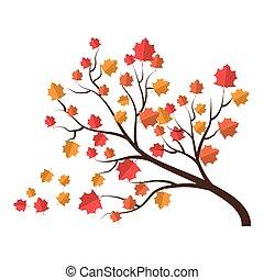 autunno, asciutto, foglie, albero