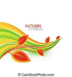 autunno, astratto, vettore, foglia, fondo