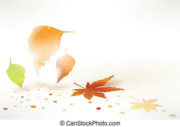 autunno, astratto, vettore, foglie, fondo