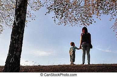 autunno, attivo, parco, famiglia, felice