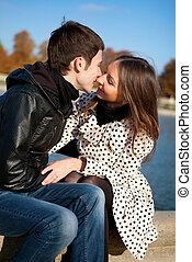 autunno, baciare, coppia, parco, romantico