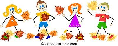 autunno, bambini