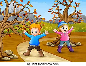 autunno, bambini, parco, gioco, felice