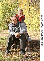 autunno, bambino, parco, nonno