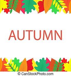 autunno, bandiera, con, multi-colored, foglie