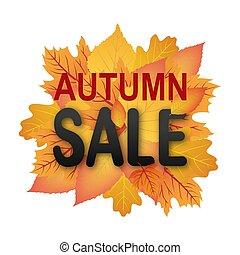 autunno, bandiera, vendita, fogliame