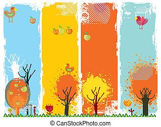 autunno, bandiere verticali