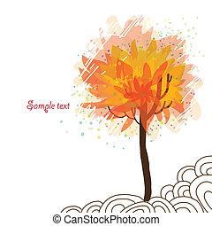 autunno, bianco, albero, fondo