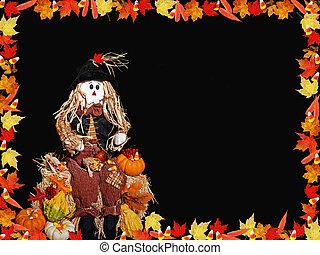 autunno, bordo, fogliame