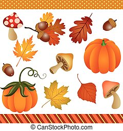 autunno, cadere, clipart, digitale