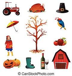 autunno, cadere, o, icone