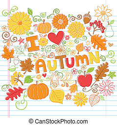 autunno, cadere, sketchy, doodles, vettore