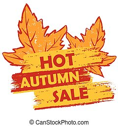 autunno, caldo, vettore, vendita, foglie