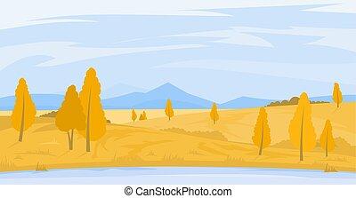 autunno, campi, paesaggio fiume