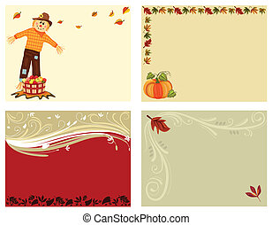 autunno, cartelle, set, 4
