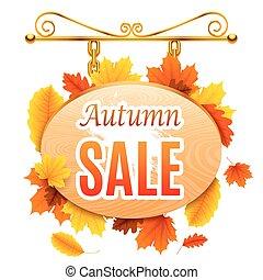 autunno, cartello, vendita