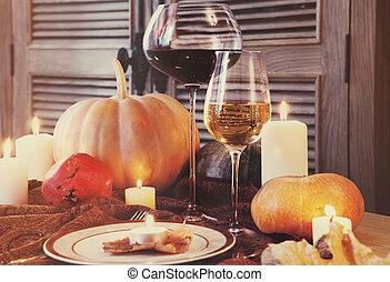 autunno, cena, posto, setting., ringraziamento