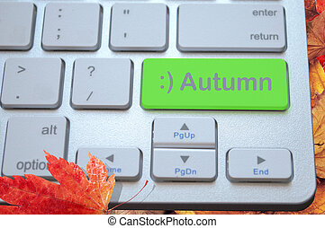 autunno, chiave calcolatore, tastiera