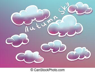 autunno, cielo, nubi