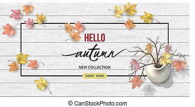 autunno, cima, fondo, vista