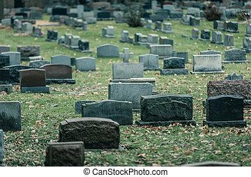 autunno, cimitero, vecchio, indietro, pietre tombali