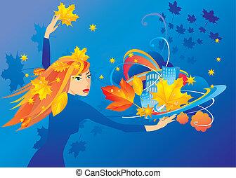 autunno, città, girl-autumn, mani