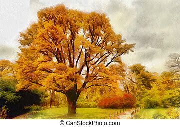 autunno, città, parco