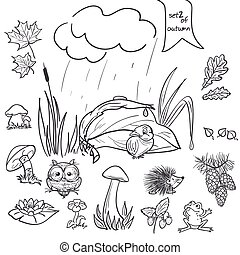 autunno, collezione, con, immagini, di, uccelli, animali, funghi, fiori, coni, per, il, bambini, in, nero, contour., set, 2.