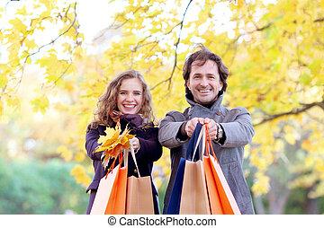 autunno, coppia, shopping