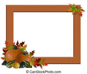 autunno, cornice, ringraziamento, cadere
