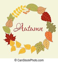 autunno, cornice, rowan, foglie, frutte