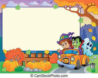 autunno, cornice, tema, halloween, 3