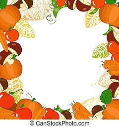 autunno, cornice, verdura, foglie