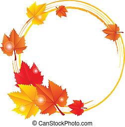 autunno, cornice, vettore, foglie