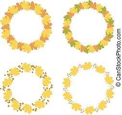 autunno, cornici, set, vettore, illustrazione