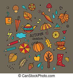 autunno, differente, set, elementi, vettore