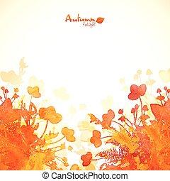 autunno, dipinto, foglie, acquarello, fondo, arancia