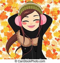 autunno, donna, ascoltando musica