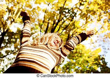 autunno, donna, felice