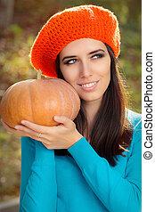 autunno, donna felice, presa a terra, zucca