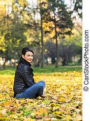 autunno, donna, foresta