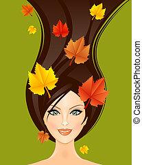 autunno, donna, illustrazione, vettore