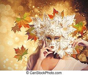autunno, donna, moda, carnevale