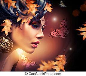 autunno, donna, moda, portrait., cadere
