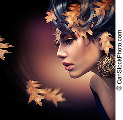 autunno, donna, ritratto, moda, cadere