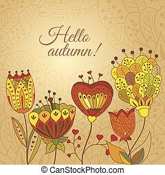 autunno, doodles, vettore, scheda