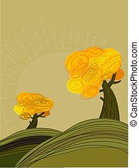 autunno, dorato, paesaggio, albero