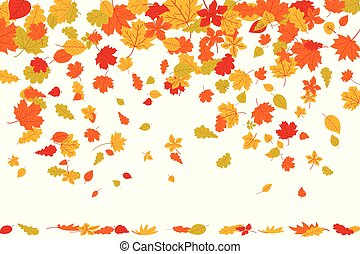 autunno, elementi, natura, foglie, decorazione, borders., disegno, cadere, set., acero